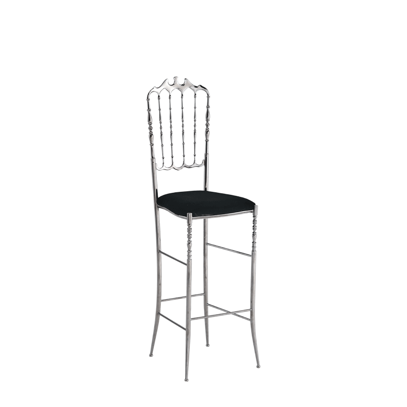 Napoleon Bar Stool in Chrome with Black Seat Pad