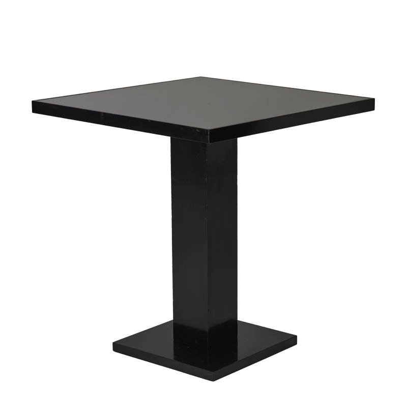 Olympic Café Table in Black with Smoked Mirror Top