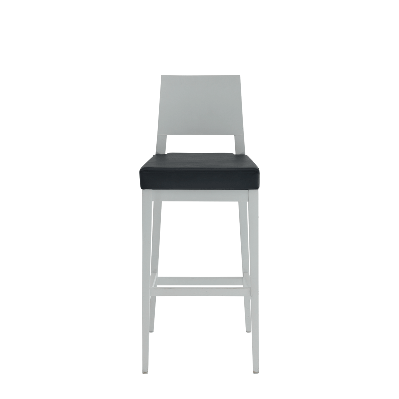 Porcino Bar Stool in White with Black Seat Pad
