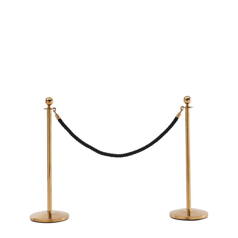 Stanchion in Gold Brass with Black Rope