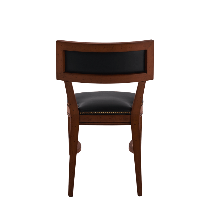 The Bogart Chair in Antique Wood with Black Seat Pad