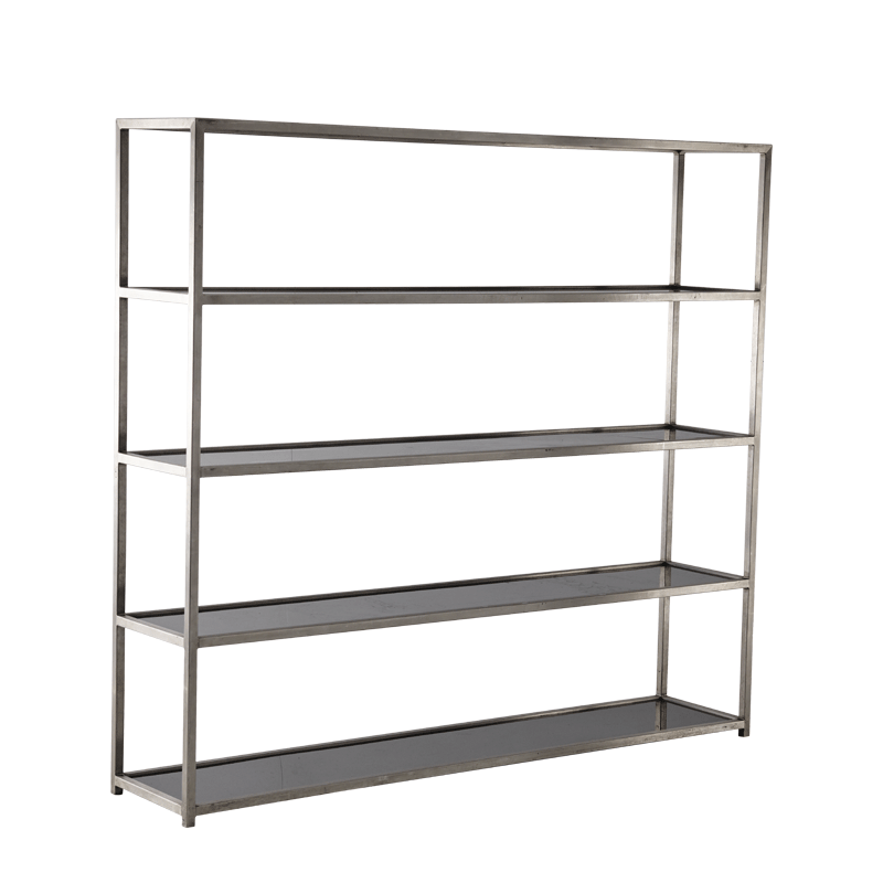 Unico Shelving Unit with Stainless Steel Frame and Black Panels