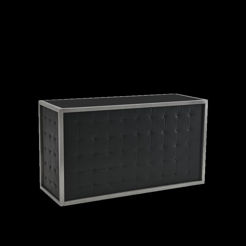 Unico Bar - Stainless Steel Frame - Black Upholstered Panels