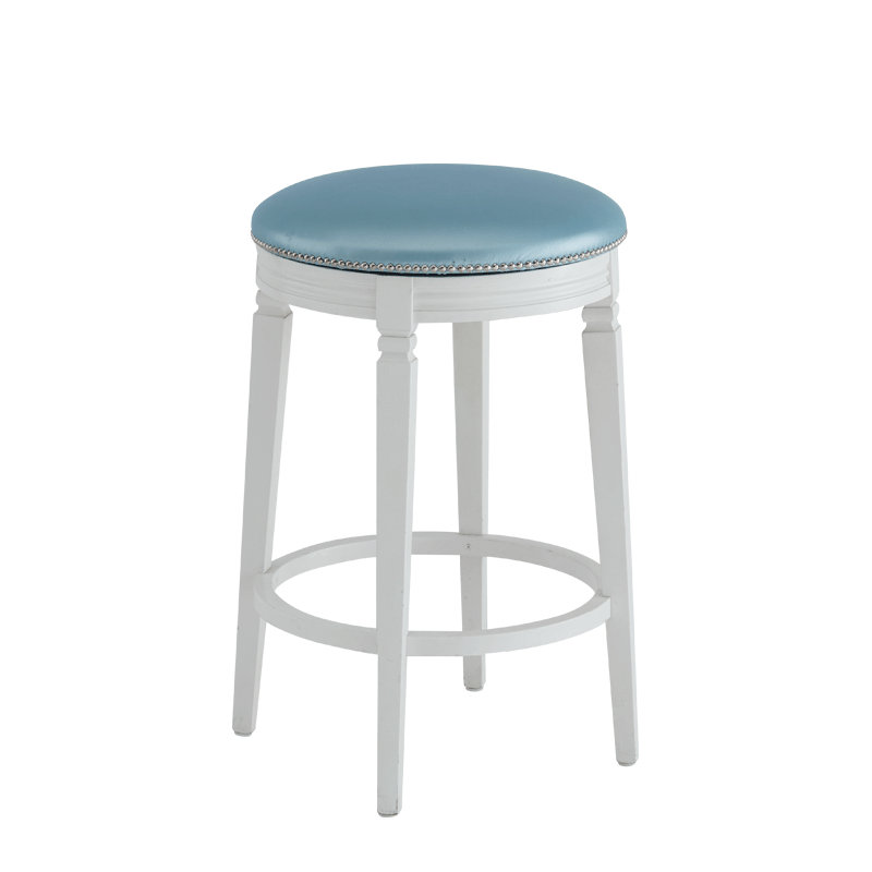 Beli Bar Stool White with Blue Seat Pad