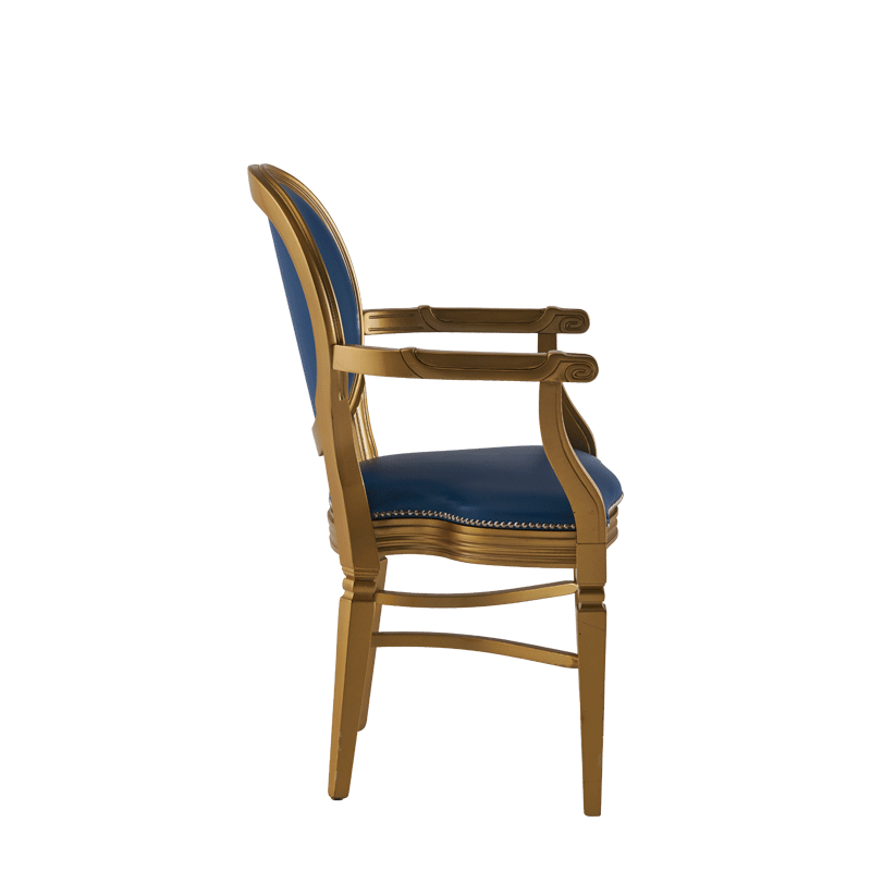 Chandelle Armchair in Gold with Blue Seat Pad