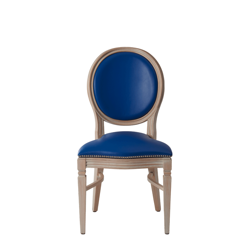 Chandelle Chair in Ivory with Blue Seat Pad