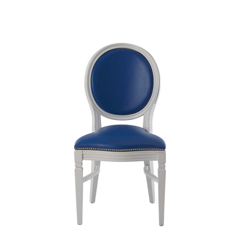 Chandelle Chair in White with Blue Seat Pad