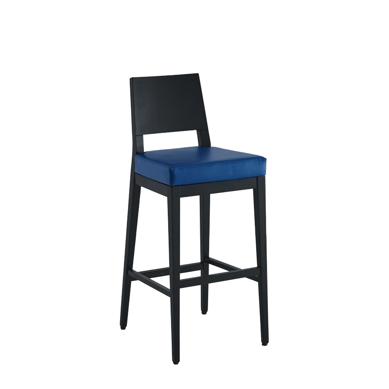 Porcino Bar Stool in Black with Blue Seat Pad