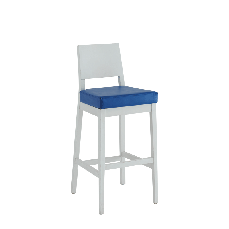 Porcino Bar Stool in White with Blue Seat Pad
