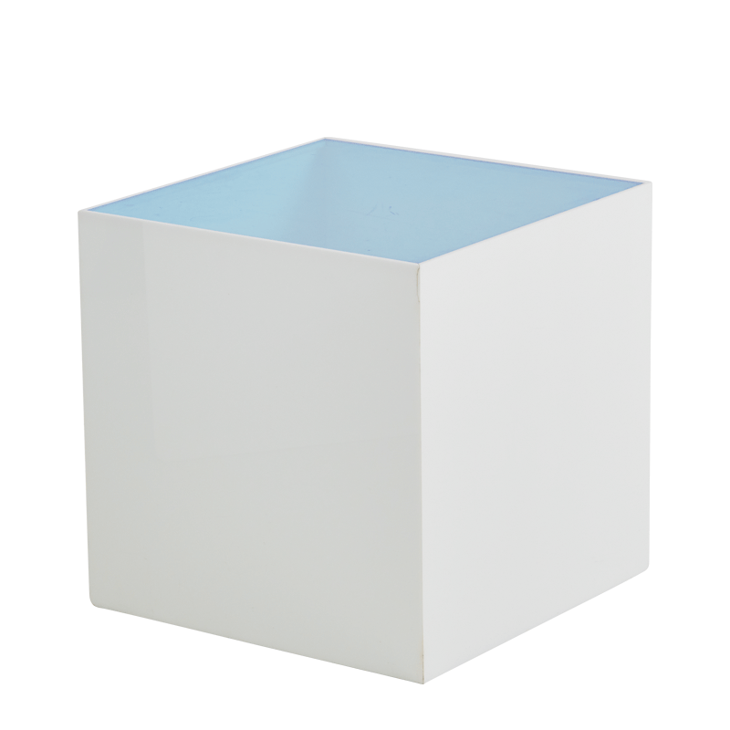 Seattle Cube Plinth in White with Light Blue Top