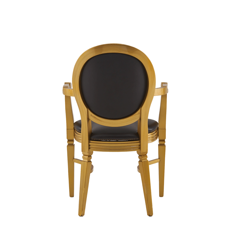 Chandelle Armchair in Gold with Brown Seat Pad