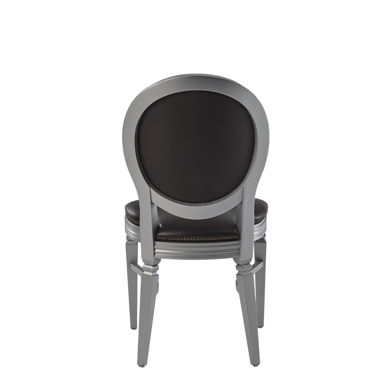 Chandelle Chair in Silver with Brown Seat Pad