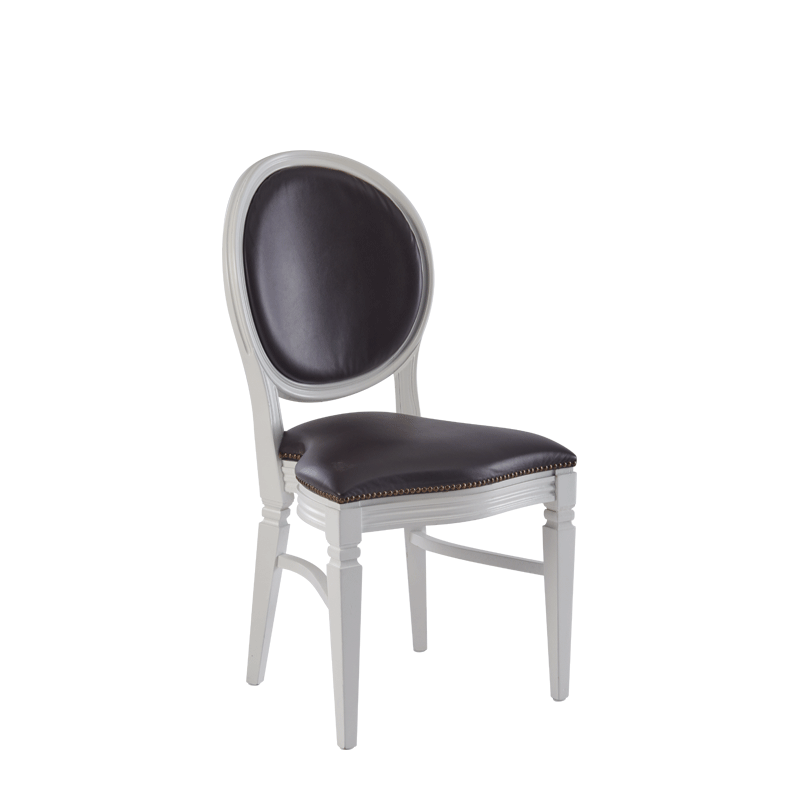 Chandelle Chair in White with Brown Seat Pad