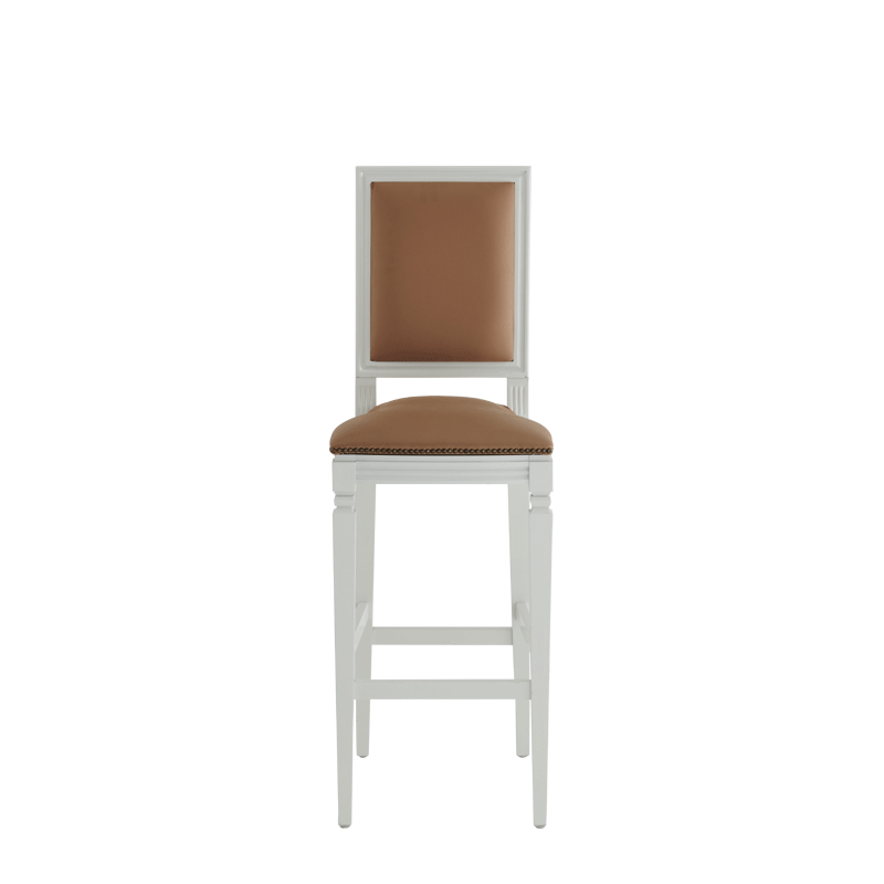 CKC Bar Stool in White with Caramel Seat Pad