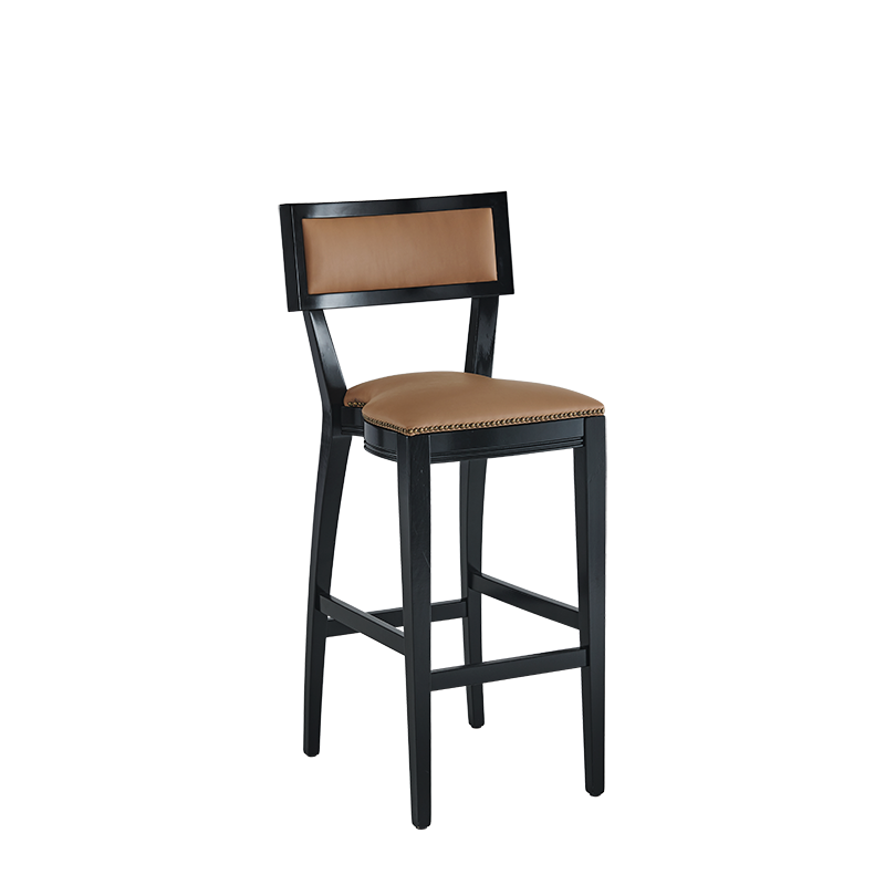 The Bogart Bar Stool in Black with Caramel Seat Pad