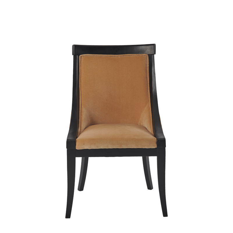 Sabrina Chair in Black with Caramel Velvet Seat Pad
