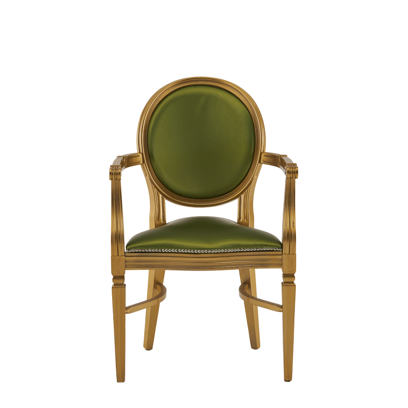 Chandelle Armchair in Gold with Chartreuse Green Seat Pad