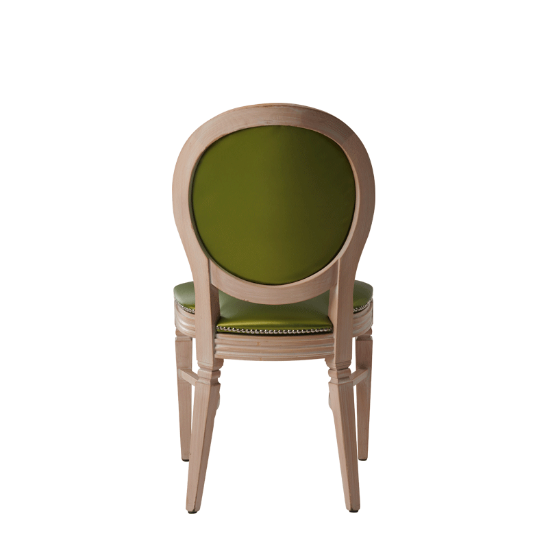 Chandelle Chair in Ivory with Chartreuse Green Seat Pad