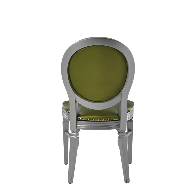 Chandelle Chair in Silver with Chartreuse Green Seat Pad