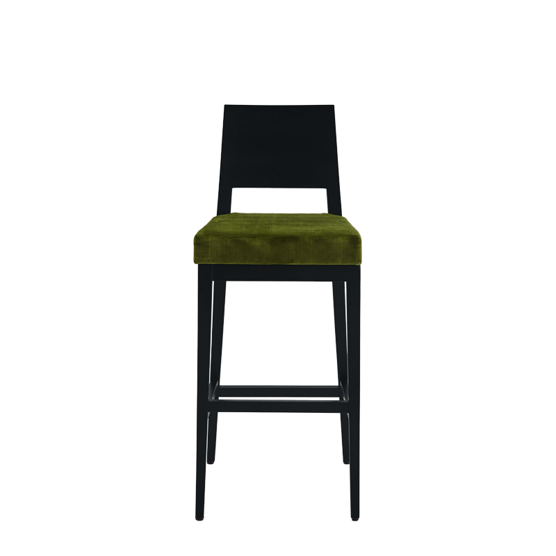Porcino Bar Stool in Black with Chartreuse Green Velvet Seat Pad