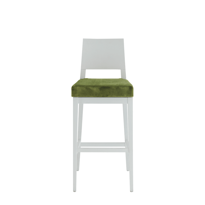 Porcino Bar Stool in White with Chartreuse Green Velvet Seat Pad