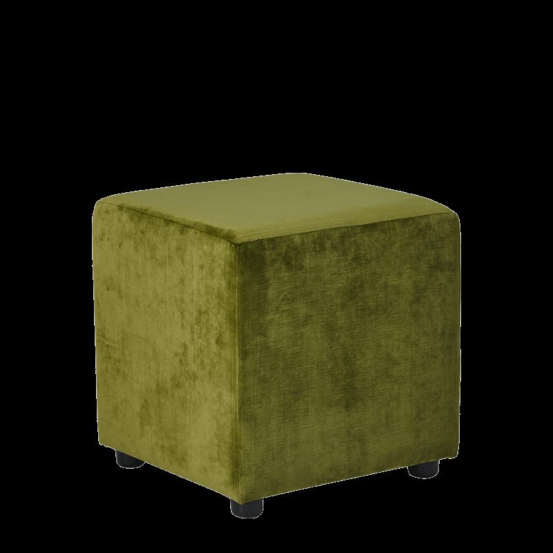Rochelle Square Ottoman in Chartreuse Green Velvet