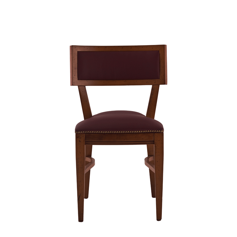 The Bogart Chair in Antique Wood with Claret Wine