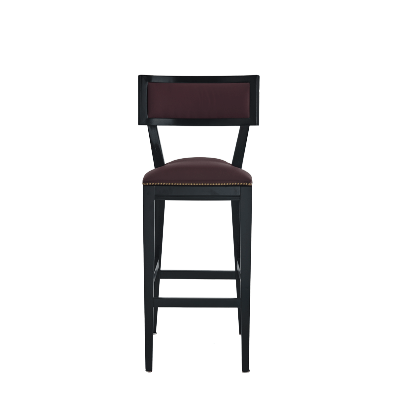 The Bogart Bar Stool in Black with Claret Wine Seat Pad