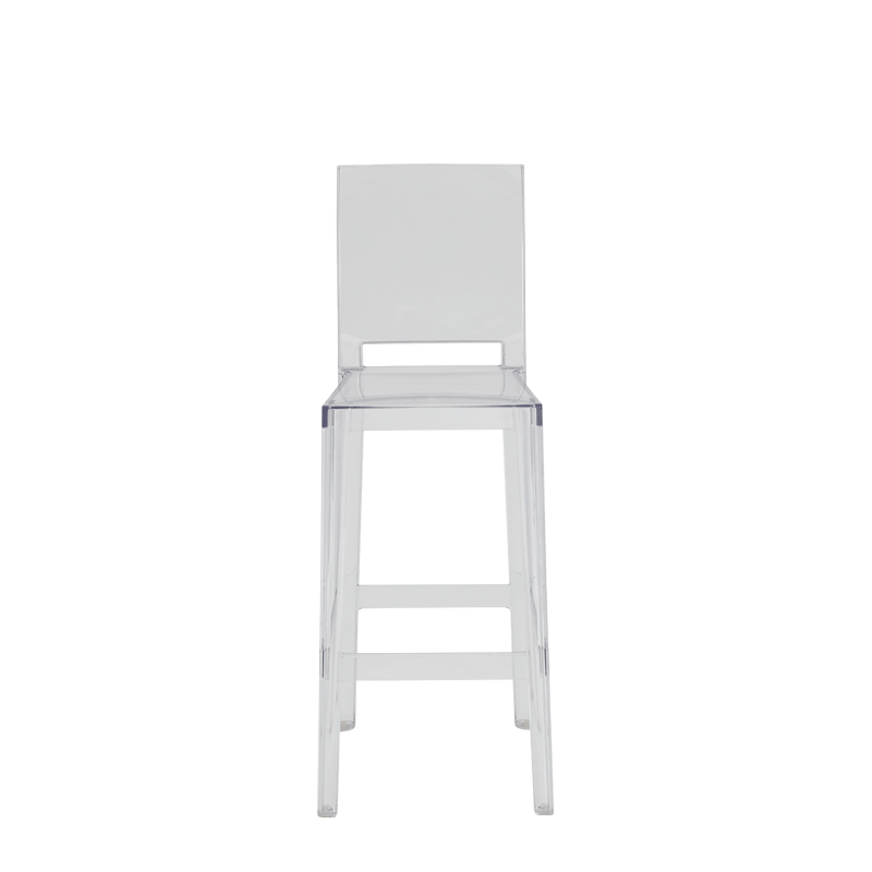 One More Please Bar Stool Square in Clear