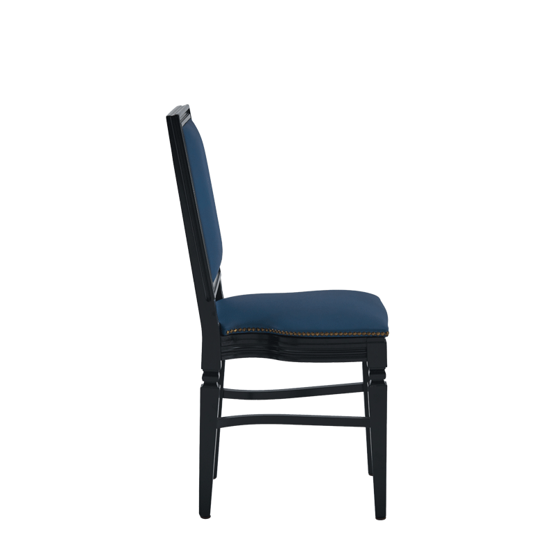 CKC Chair in Black with Cornflower Blue Seat Pad