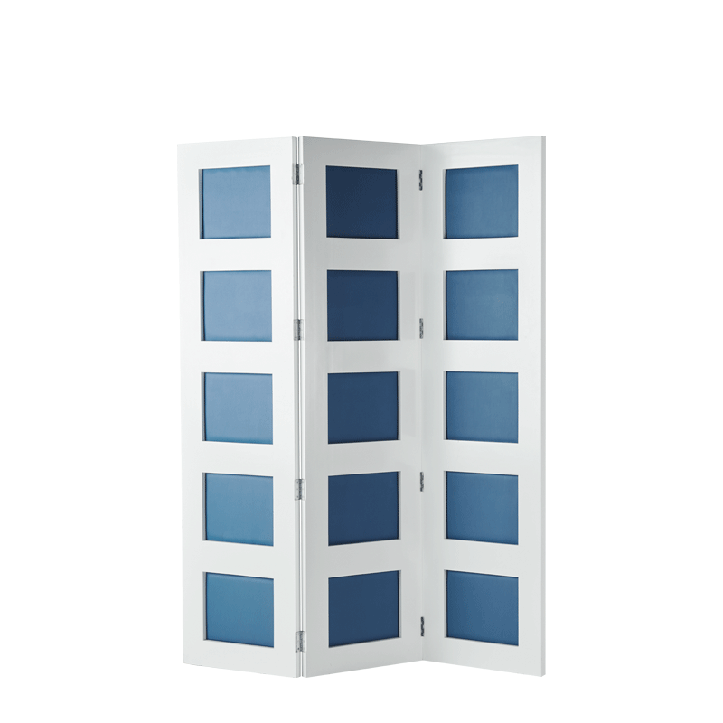 CKC Screen in White with Cornflower Blue Panels