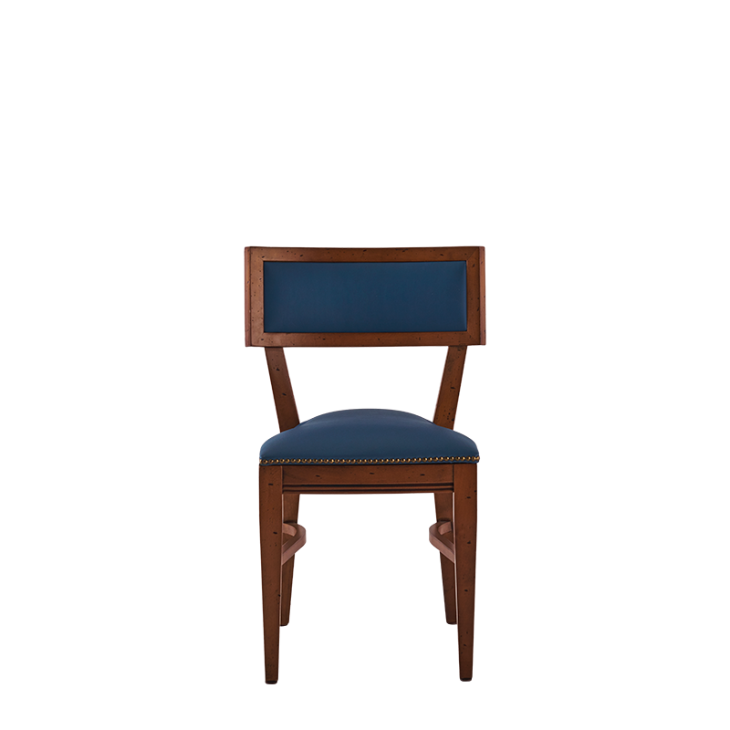 The Bogart Chair in Antique Wood with Cornflower Seat Pad