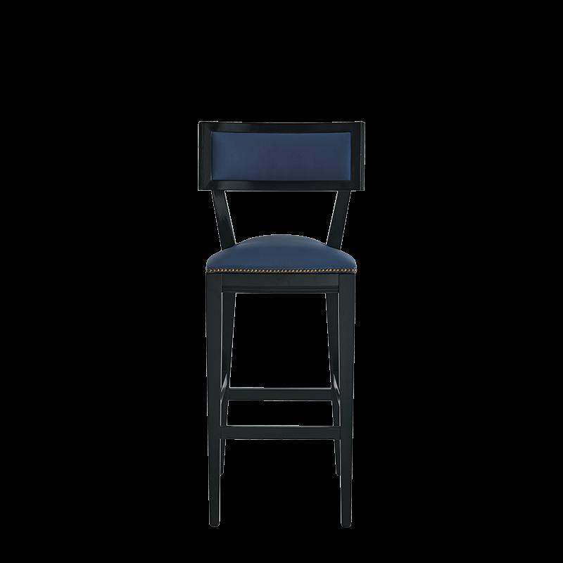 The Bogart Bar Stool in Black with Cornflower Blue Seat Pad