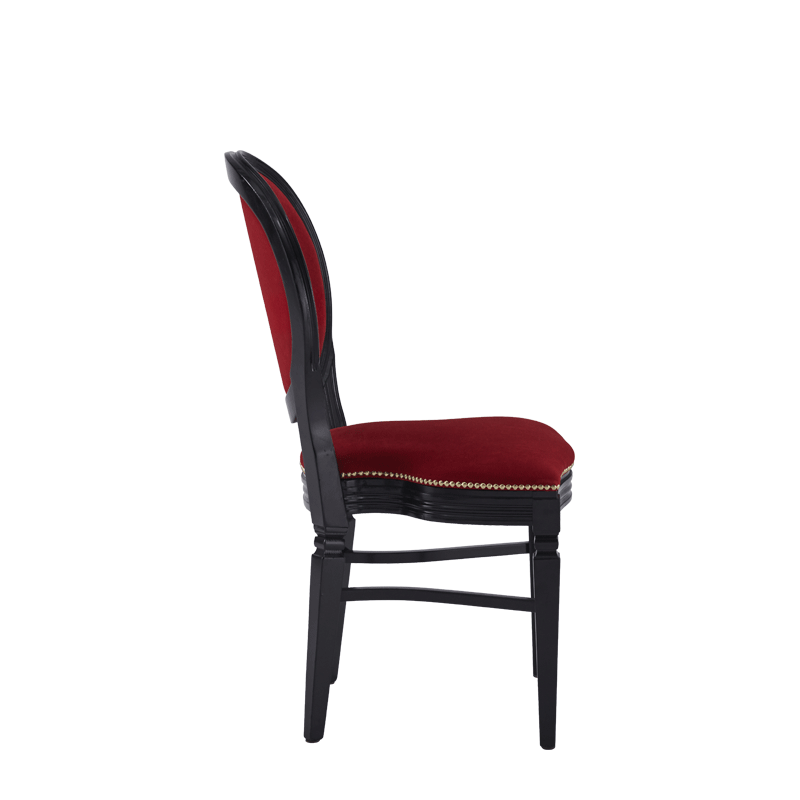 Chandelle Chair in Black with Crimson Red Velvet Seat Pad