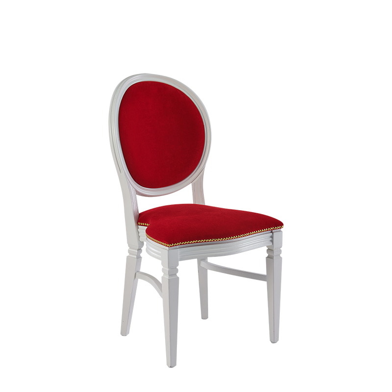 Chandelle Chair in White with Crimson Red Velvet Seat Pad