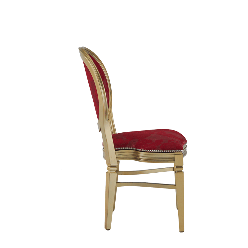 Chandelle Chair in Gold with Damask Bordeaux Seat Pad