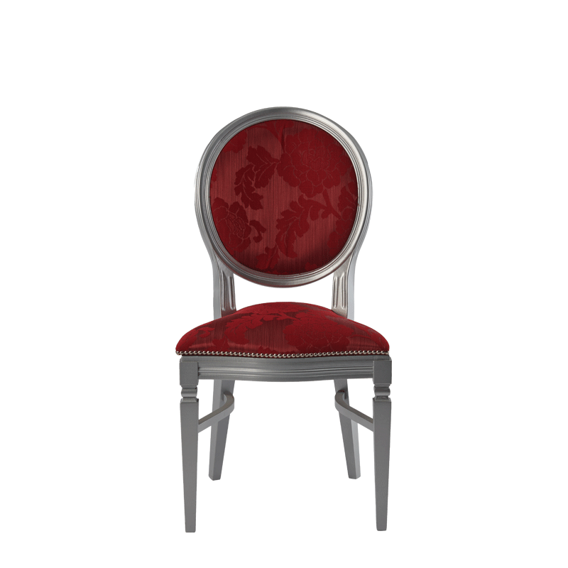 Chandelle Chair in Silver with Damask Bordeaux Seat Pad