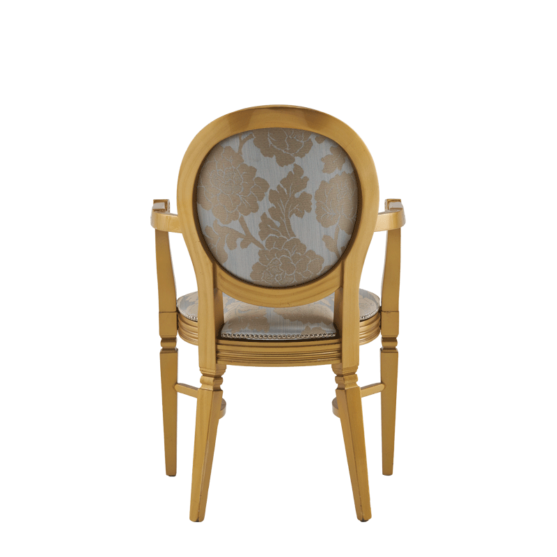 Chandelle Armchair in Gold with Damask Moonshine Seat Pad