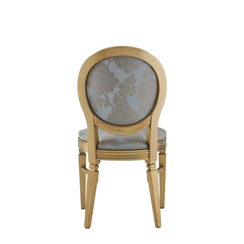 Chandelle Chair in Gold with Damask Moonshine Seat Pad