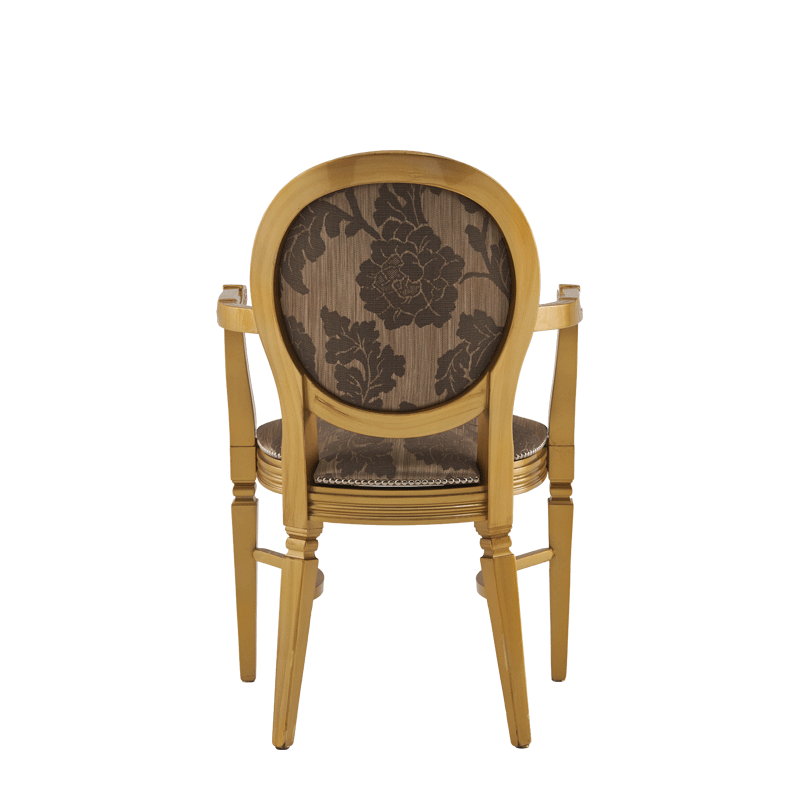 Chandelle Armchair in Gold with Damask Taupe Seat Pad