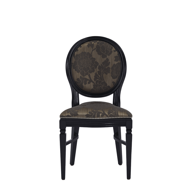 Chandelle Chair in Black with Damask Taupe Seat Pad