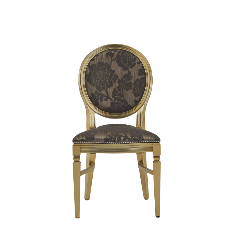 Chandelle Chair in Gold with Damask Taupe Seat Pad
