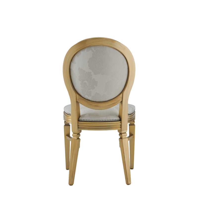 Chandelle Chair in Gold with Damask Vanilla Seat Pad
