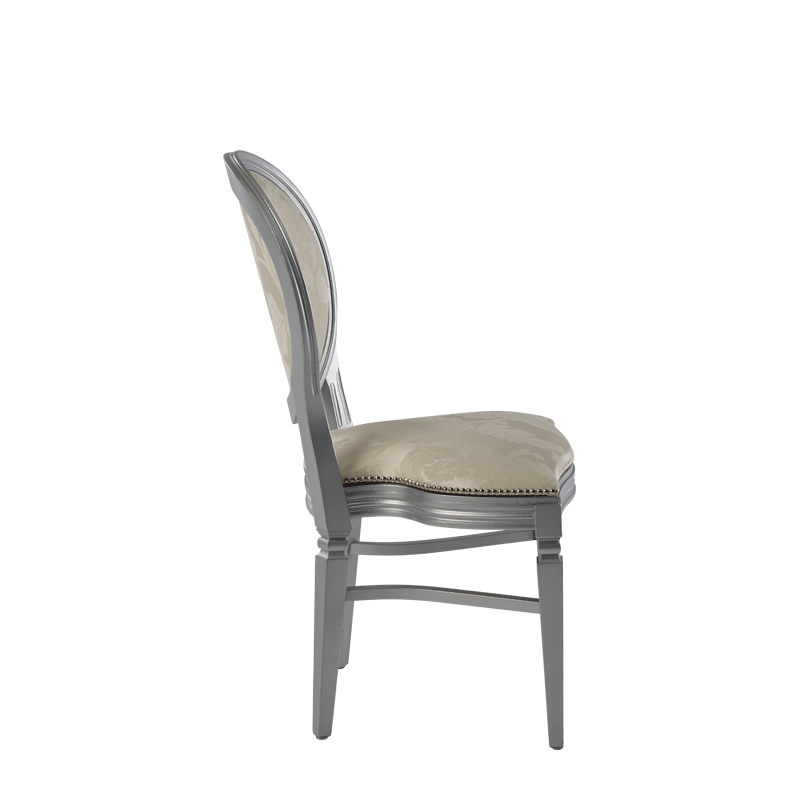 Chandelle Chair in Silver with Damask Vanilla Seat Pad