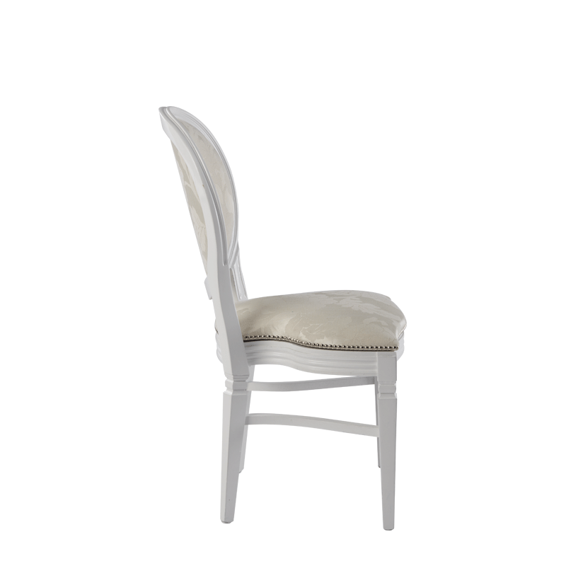 Chandelle Chair in White with Damask Vanilla Seat Pad