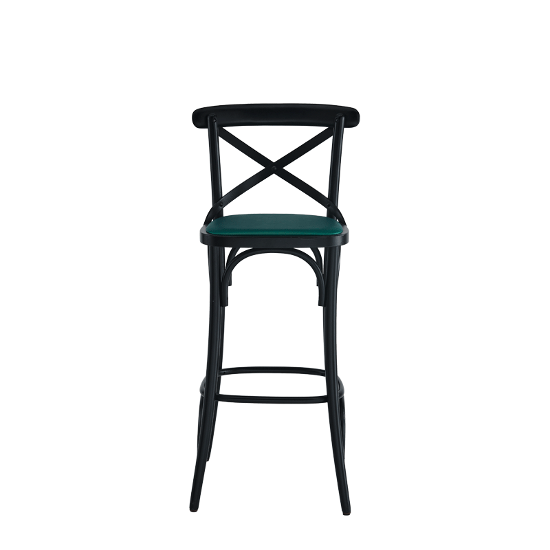 Coco Bar Stool in Black with Emerald Seat Pad