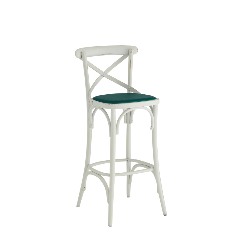 Coco Bar Stool in White with Emerald Seat Pad