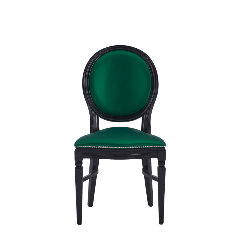 Chandelle Chair in Black with Emerald Green Seat Pad