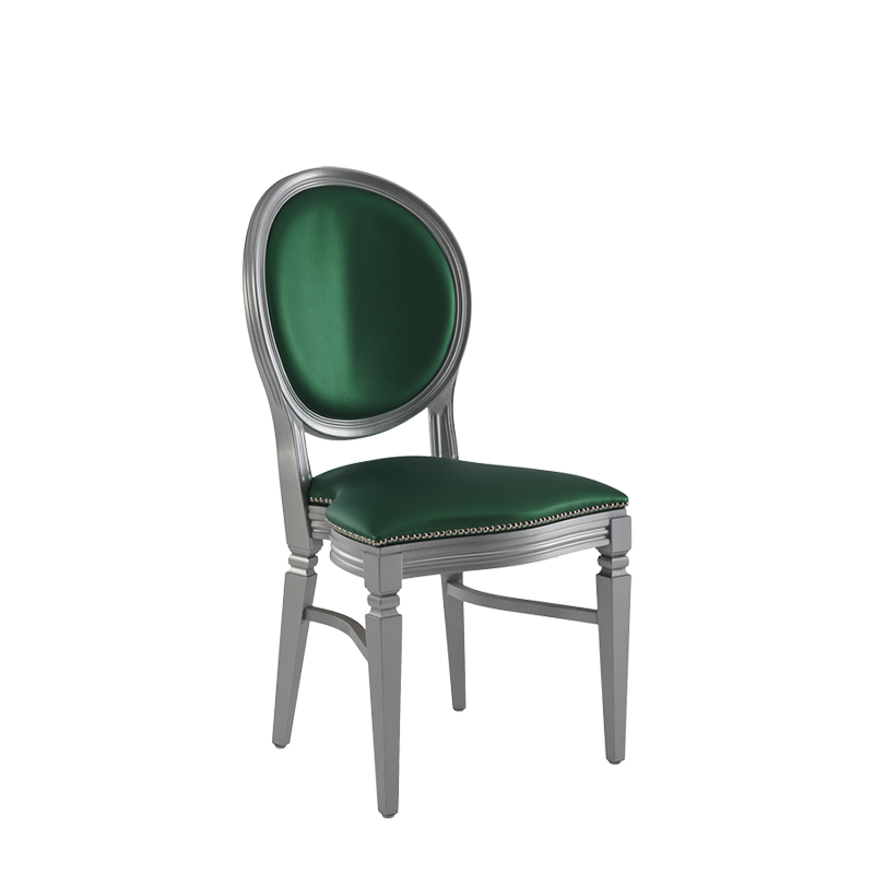Chandelle Chair in Silver with Emerald Green Seat Pad