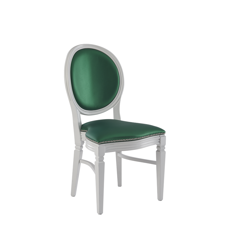 Chandelle Chair in White with Emerald Green Seat Pad